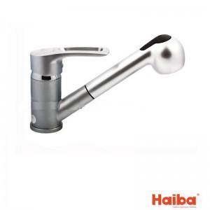Смеситель для кухни с вытяжной лейкой HAIBA 014 HANSBERG SATIN