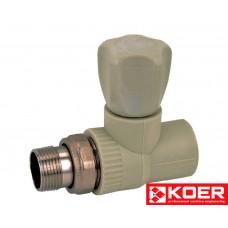 KOER PPR Вентиль радиаторный прямой 20x1/2'