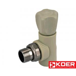 KOER PPR Вентиль радиаторный угловой 25x3/4'