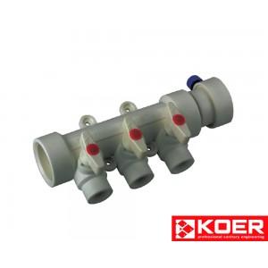 KOER PPR Коллектор 3-way с шаровыми кранами (40x20)