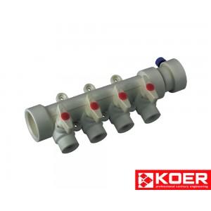 KOER PPR Коллектор 4-way с шаровыми кранами (40x20)