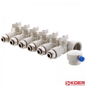 KOER PPR Коллектор распределительный 40x20 - 6-way с фитингом