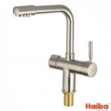 Смеситель для кухни УХО HAIBA SUS-021 с выходом для питьевой воды из нержавеющей стали 017