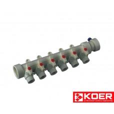KOER PPR Коллектор 6-way с шаровыми  кранами (40x20)