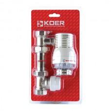 KOER Комплект для подключения радиатора прямой с термоголовкой 1/2''