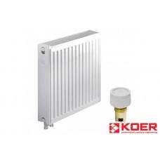 KOER Стальной радиатор 22 x 500 x 400B  нижнее подключение с термоклапаном